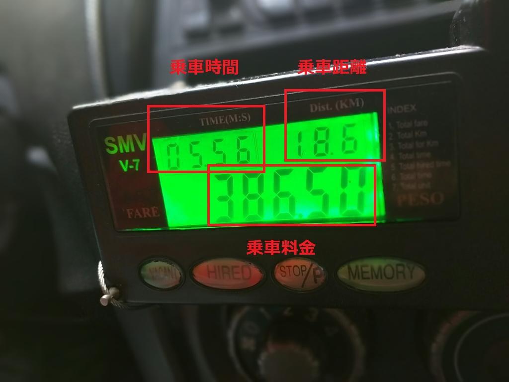 フィリピンのタクシーメーター